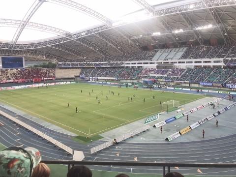 サッカー観戦の写真